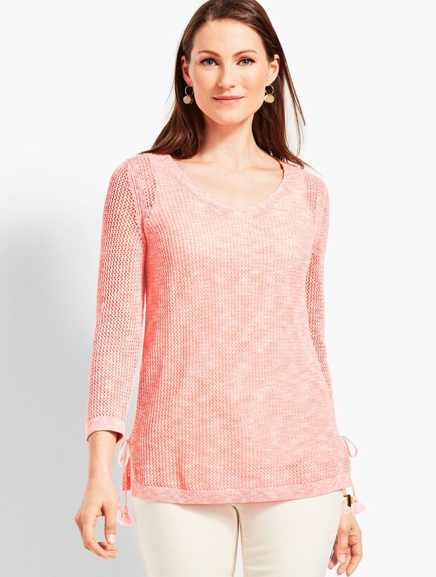 Space-Dye Mesh Side-Tie Sweater