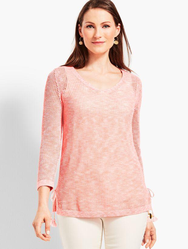 Space-Dye Mesh Side-Tie Sweater
