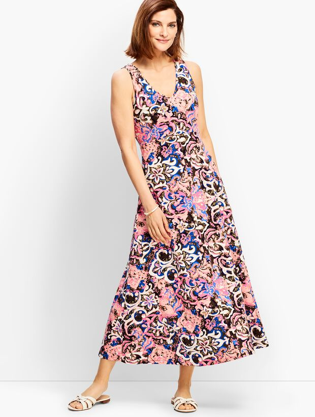 Casual Jersey Maxi Dress - Abstract Blossoms
