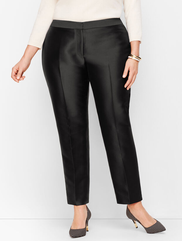 Plus Size Silk Gazar Tailored Ankle Pants