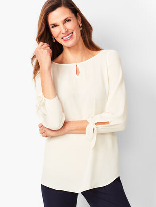 Tie-Sleeve Blouse - Solid