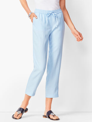 b33dc740dce6 Washed Linen Pull-On Crops
