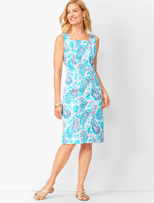 Fresco Paisley Sheath Dress
