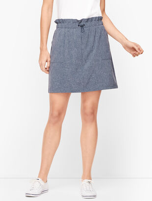 Lightweight Stretch Drawstring Waist Skort