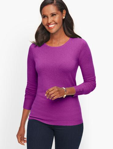 Cashmere Button Cuff Crewneck Sweater - Solid