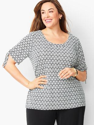 Plus Size Tie-Sleeve Knit Jersey Top - Diamond Print