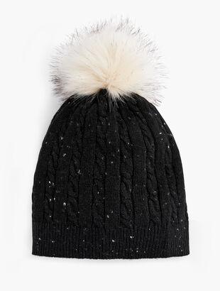 Cable Stitch Tweed Pom Pom Hat