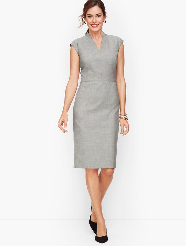 Tailored Sharkskin Sheath Dress