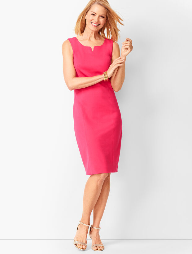 b33dc38c61e Split-Neck Refined Ponte Sheath Dress - Solid