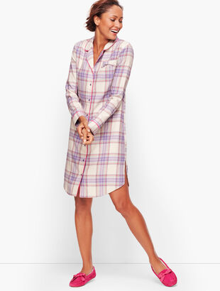 Button Front Sleep Shirt - Brushed Tartan
