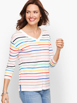 Cotton V-Neck Sweater - Stripe