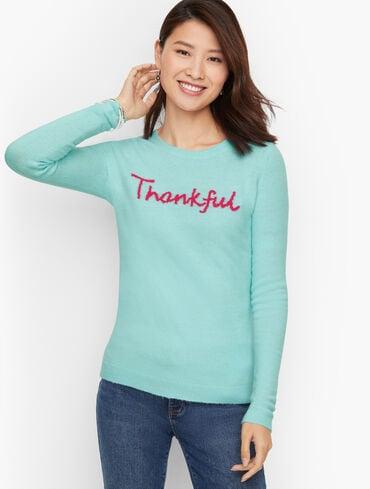 Thankful Intarsia Crewneck Sweater