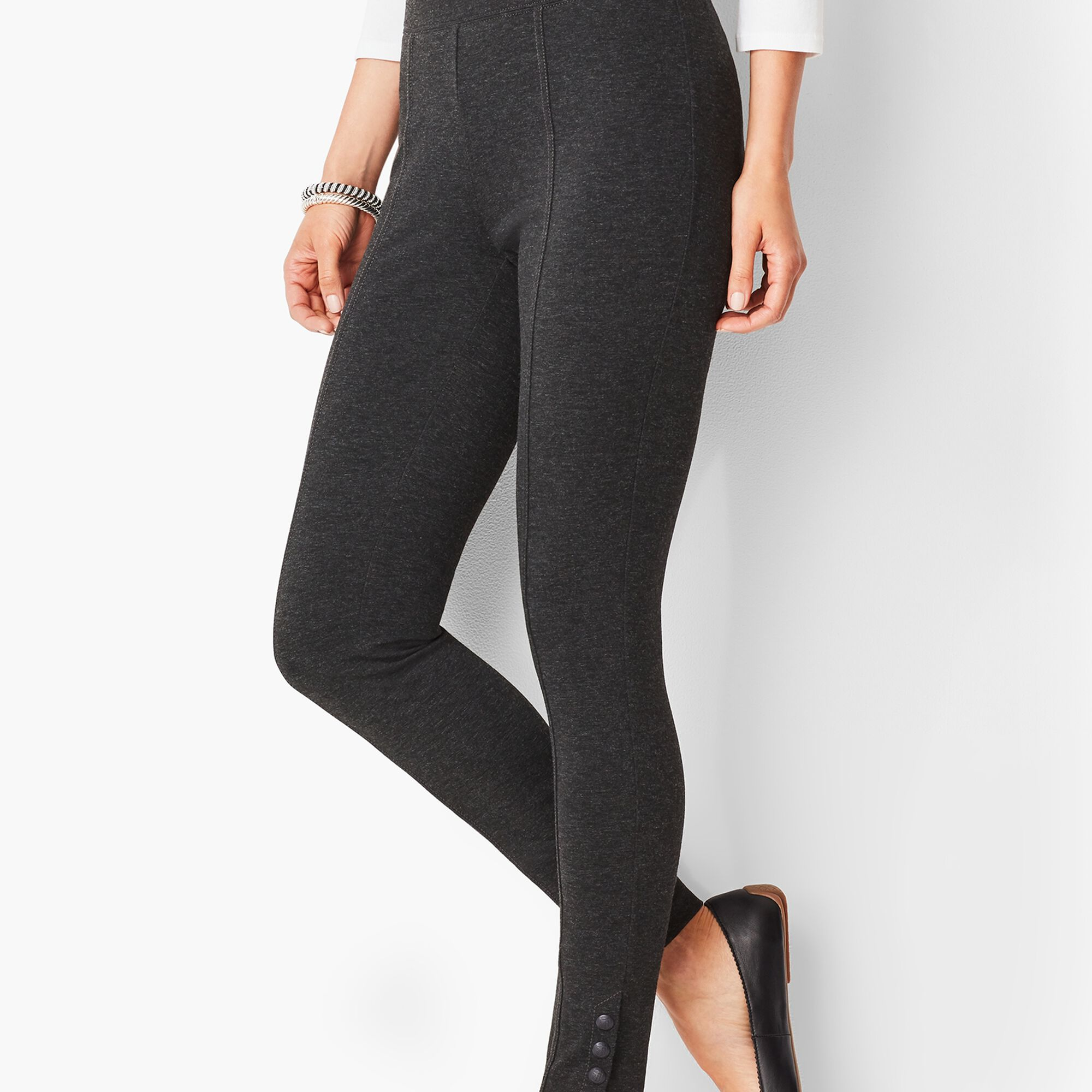 f5e3bfde750 Ankle-Snap Ponte Leggings - Solid
