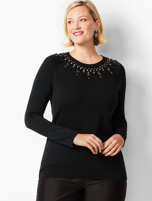 Beaded Fair Isle Design Sweater