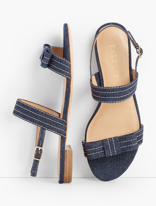 Keri Stitched-Bow Sandals - Denim