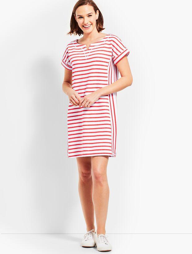 Stargazer Stripe T-Shirt Dress - Dark Nectarine