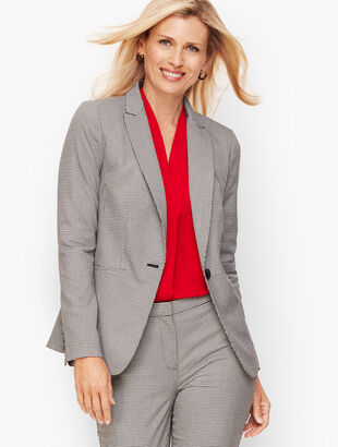 Square Houndstooth One-Button Blazer