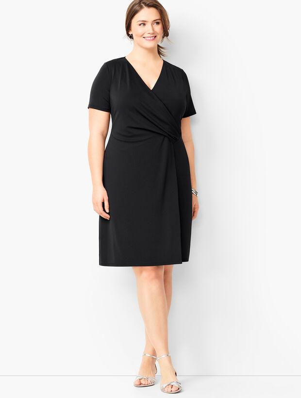 Plus Size Knit Jersey Faux-Wrap Dress