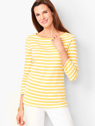 Cotton Bateau-Neck Tee - Petal Yellow Stripe