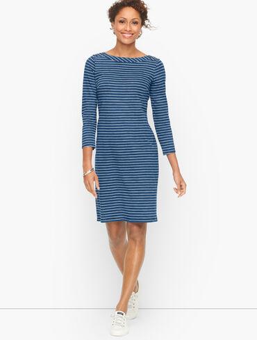 Cotton Jersey Shift Dress - Nautical Stripe