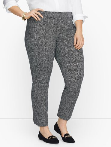 Plus Exclusive Talbots Chatham Fly Front Ankle Pants - Falling Lines