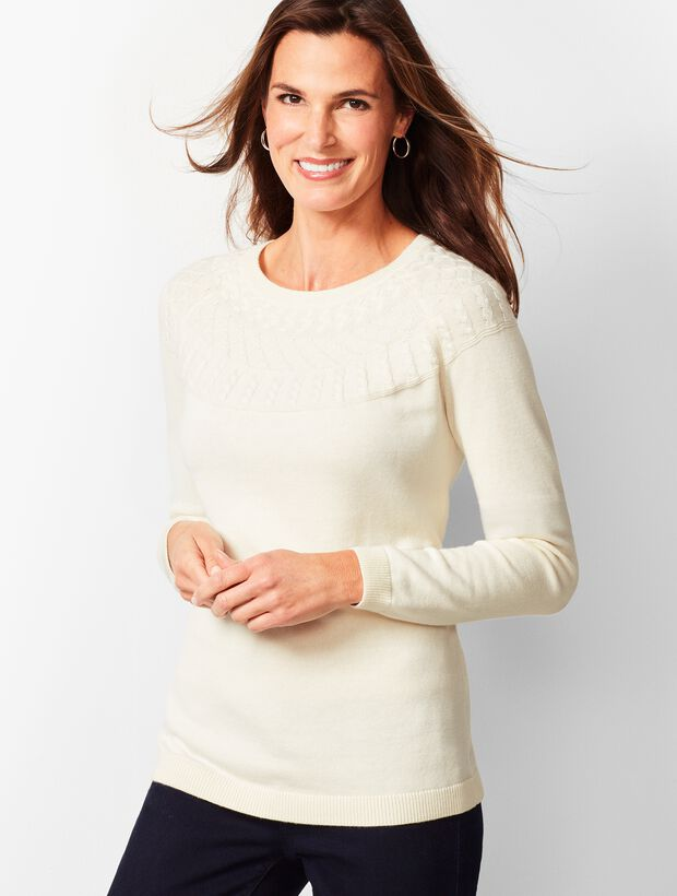 Cable-Yoke Cotton-Blend Sweater