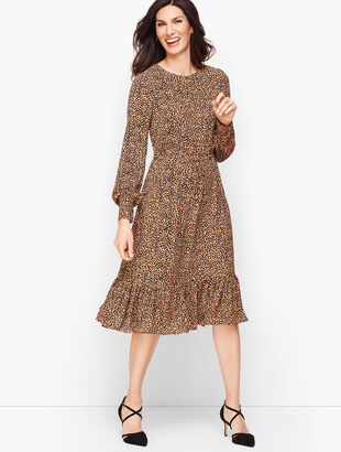 Flowing Flounce Hem Fit & Flare Dress - Leopard