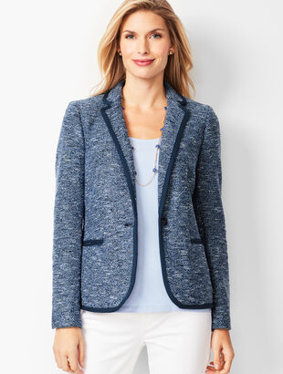 Single-Button Tweed Blazer