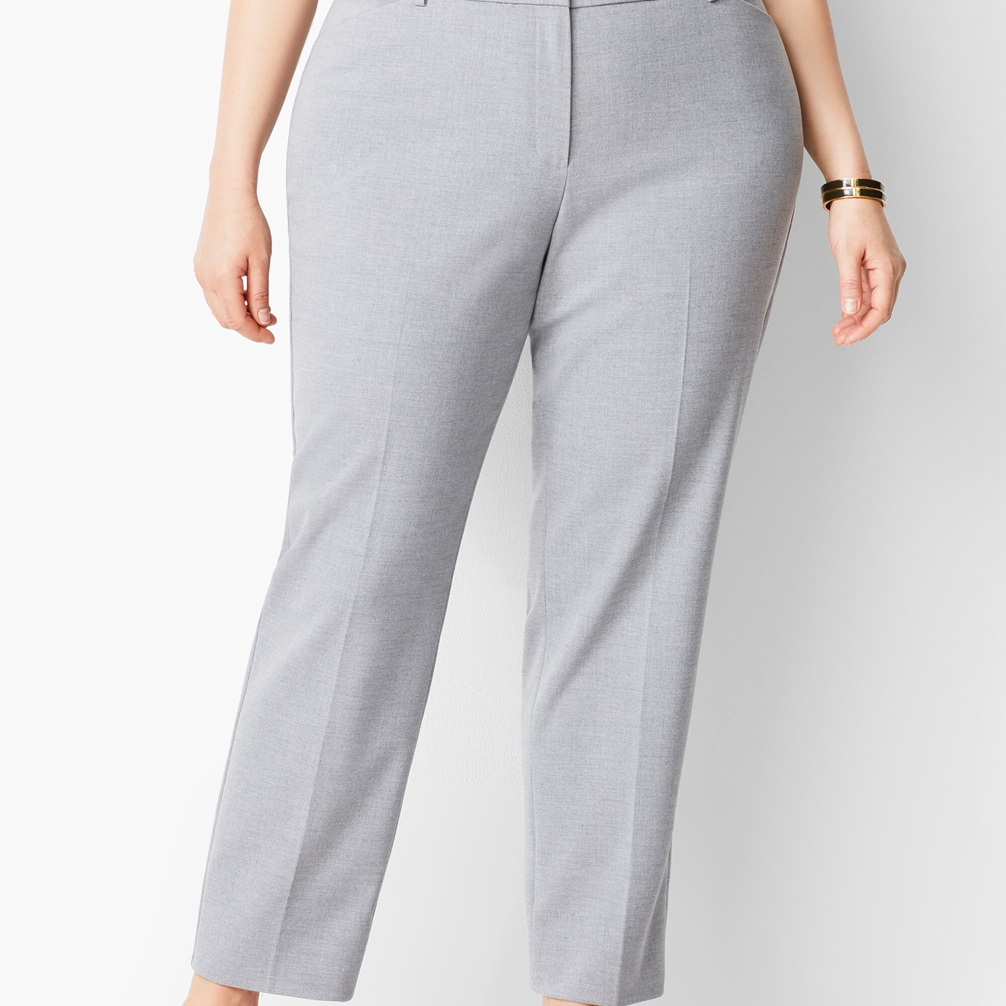 84b4a5af29 Plus Size High-Waist Tailored Ankle Pant - Grey Curvy Fit