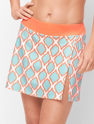 Cabana Life® Vented Swim Skirt - Orange Lagoon Diamond