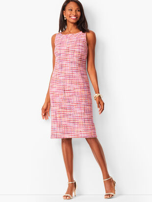 Ribbon Tweed Shift Dress