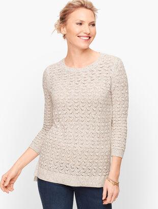 Textured Linen Blend Sweater - Marled