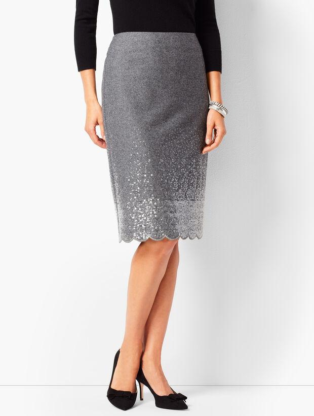 Scallop-Hem Sequined Pencil Skirt