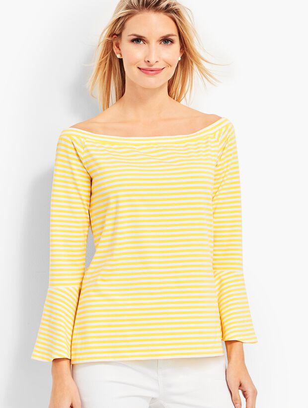 Off-The-Shoulder Flared Top-Striped