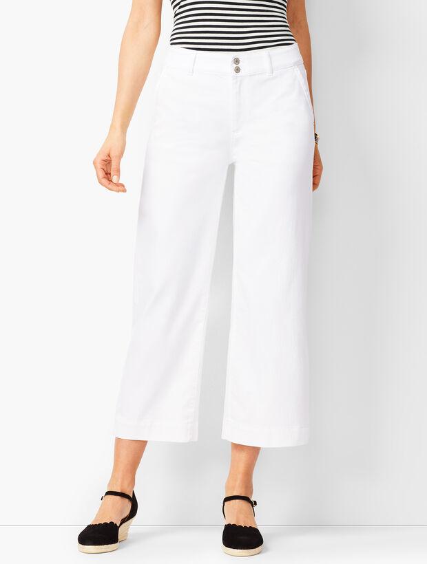 Denim Wide-Leg Crops - White