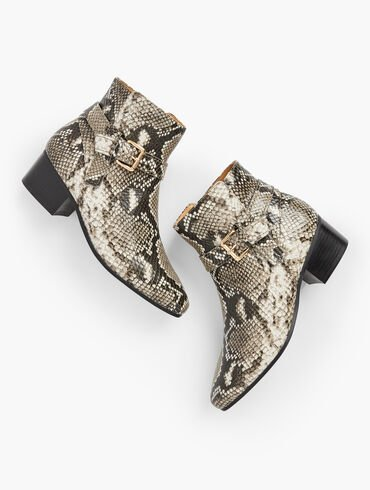 Dakota Buckle  Ankle Boots - Python Embossed Leather