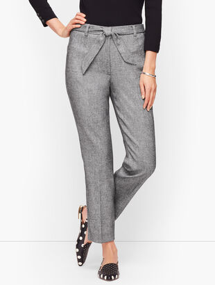 Stretch Crepe Tie Waist Pants - Textured