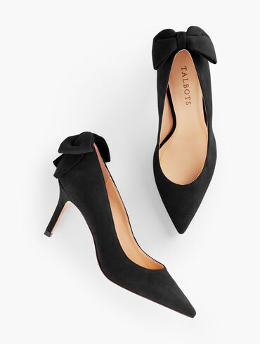 Erica Bow Suede Pumps