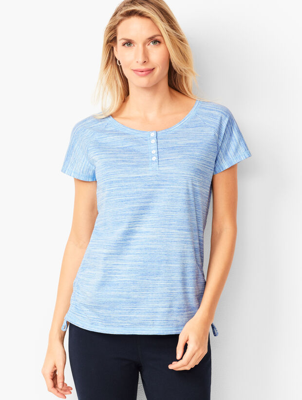 Space-Dyed Cinched-Hem Henley Tee
