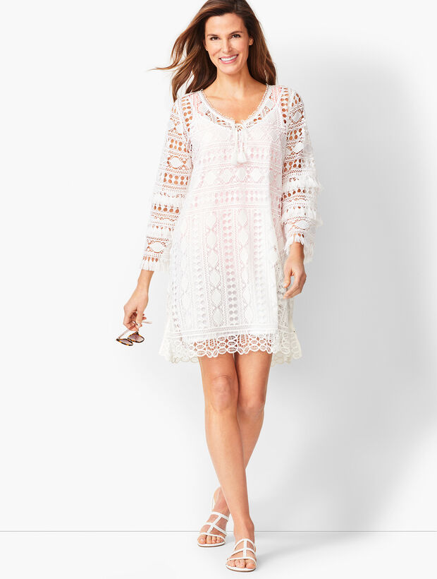 Bell-Sleeve Embroidered Lace Cover-up
