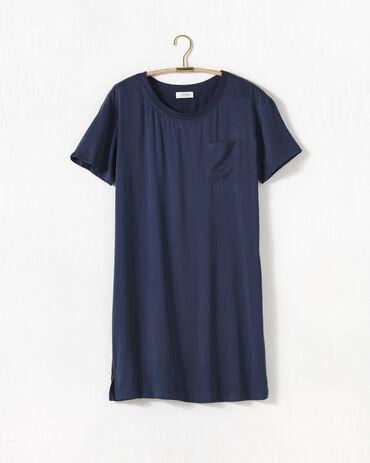 Washable Silk Rib Trim Sleep Dress