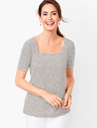 Square-Neck Tee - Stripe
