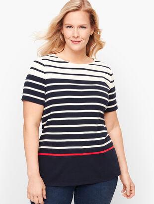 Cotton Crewneck Tee - Stripe