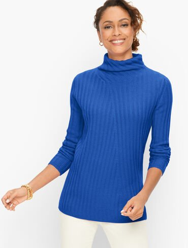 Ribbed Cashmere Turtleneck Sweater