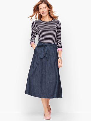 Denim Tie Front Skirt
