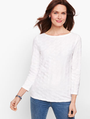 Cotton Bateau Neck Tee - Textured Daisies