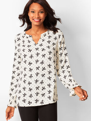 Smocked-Sleeve Bow Top