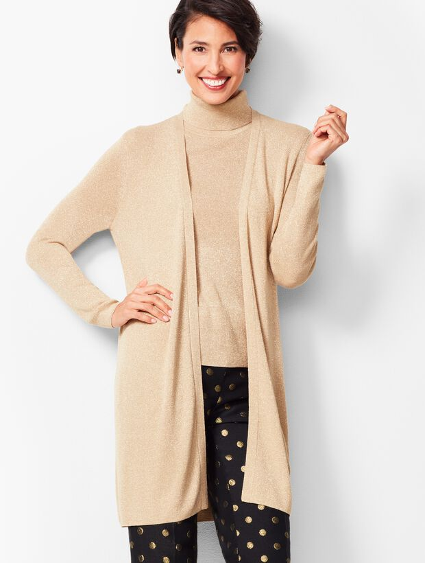 Sparkle Open-Front Duster Sweater