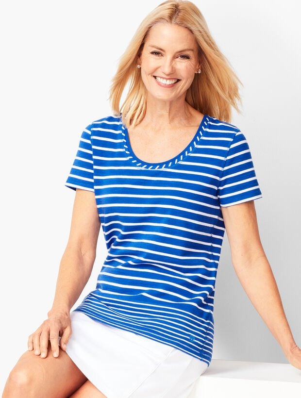 Gradient Stripe Slub-Knit Tee