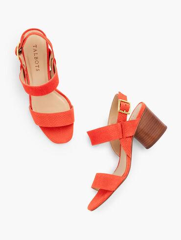 Paulina Embossed Leather Sandals